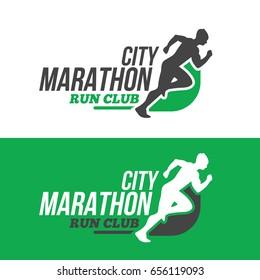 Running man silhouette on marathon logo