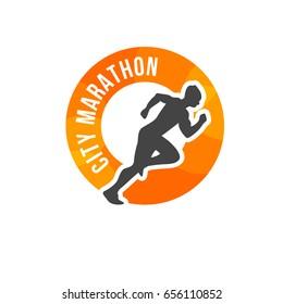Running man silhouette on orange emblem