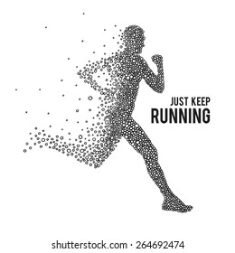 Running Man. The silhouette on a white background.