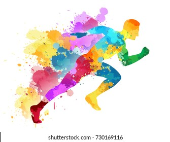 Running man, sport colorful poster, icon with splashes, shapes.