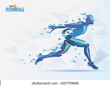 running man, sport and competition background with motion color effects of tirangle splints