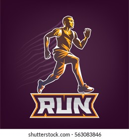 Running man. Sport emblem on the black background