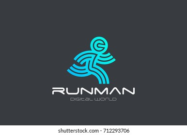 Running Man Sport Fitness Delivery Logo design vector template Linear style.