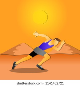 Running man sprinting cross country trail run. Male fit sport fitness model training for marathon outside in beautiful landscape.