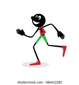 Running man.  Stick figure. Vector illustration.