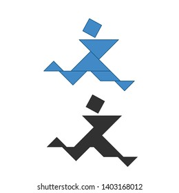 running man Tangram. Traditional Chinese dissection puzzle, seven tiling pieces - geometric shapes: triangles, square rhombus , parallelogram. Board game for kids that helps to develop analytical