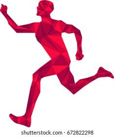 Running Man Torch Bearer Vector Low Poly