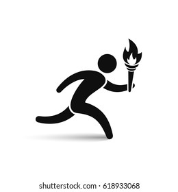 Running man with tourch flame icon. Vector isolated illustration.