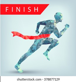Running man from triangles, low poly style, eps 10. Winner at finish line illustration. Leadership concept.