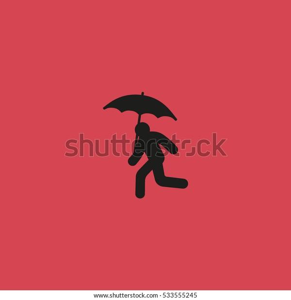 running man with umbrella