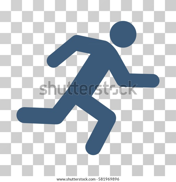 Running Man vector icon. Illustration style is a flat iconic blue symbol on a transparent background.