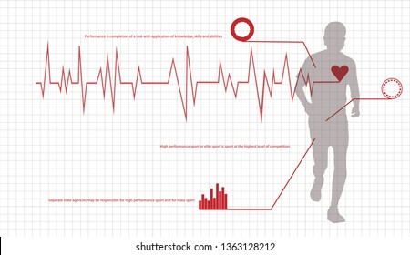 Running man vector illustration of heartbeat electrocardiogram and running zone