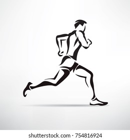 running man vector symbol, outlined stylized silhouette, sport and activity concept