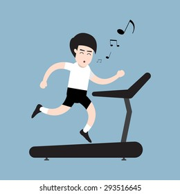 running man with whistling on treadmill, health concept. vector illustration