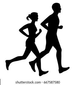 Running man and woman black silhouette isolated vector illustration. Jogging couple.