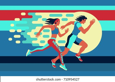 Running man and woman at high speed moving along the road. Fitness, healthy life style. Athletes on the competition or marathon. Useful to design sports banners, icons, backgrounds and posters.