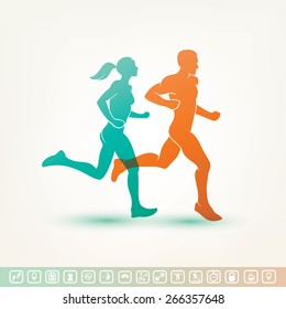 running man and woman silhouette, outlined vector sketch, fitness concept, fitness tracker icons