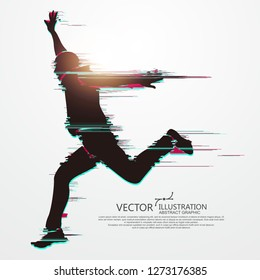 Running Man,flawed digital image,vector illustration.