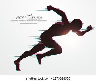 Running Man,flawed digital image,vector illustration.