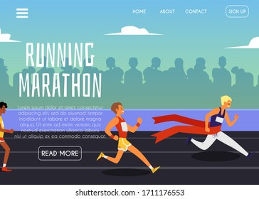Running marathon banner template with competing male sportsmen cartoon characters at stadium background, flat vector illustration. Sport competition and race concept.