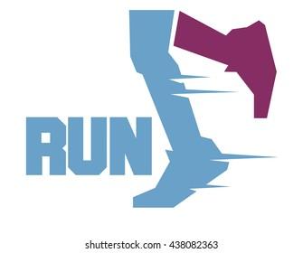 Running marathon. Flat vector illustration.