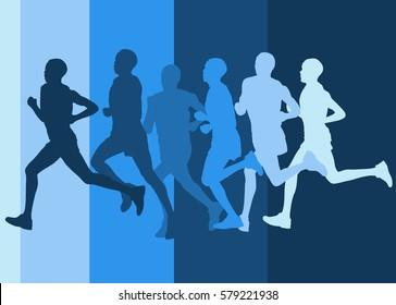 Running marathon people group vector illustration background