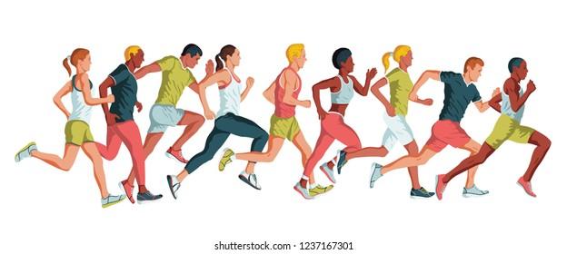 Running marathon, people run, colorful poster. Vector illustration