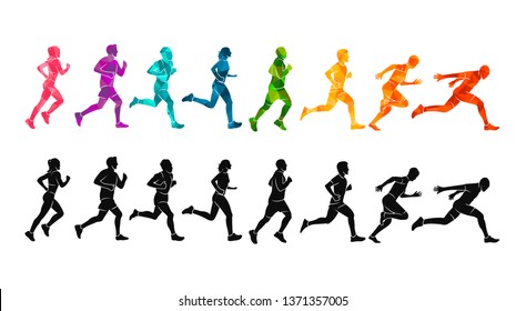 Running marathon, people run, colorful poster. Vector illustration background silhouette sport