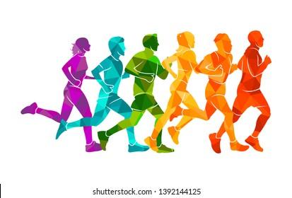 Running marathon, people run, colorful poster. Vector illustration background silhouette sport