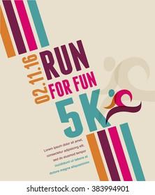 Running marathon, people run, colorful poster