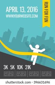 Running marathon, people run, colorful poster  design