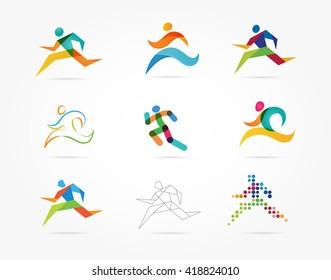 Running marathon, people run, colorful icon set