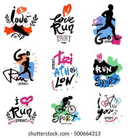 Running, marathon, triathlon logo and illustrations. Isolated vector illustration. Fitness, athlete training symbols, figures. Sprint, exercise, Jogging, handmade illustration