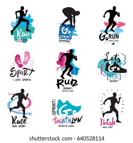 Running, marathon, triathlon logo and illustrations. Isolated vector illustration. Fitness, athlete training symbols, numbers, signs.