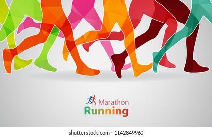 Running marathon. Vector illustration