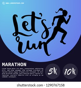 Running marathon,abstract and colorful poster,running people silhouette.vector illustration