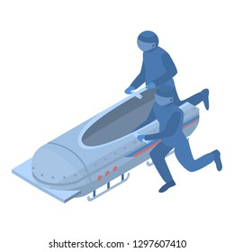 Running men bobsleigh icon. Isometric of running men bobsleigh vector icon for web design isolated on white background