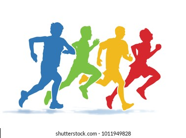 Running men. Colorful group of four young men running in the race on the white background.