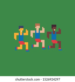 Running men, sport pixel art icon, design for logo, sticker, mobile app, vector illustration. Game assets of an 8-bit sprite.