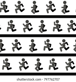 Running men symbol lines, seamless texture pattern, vector illustration, square, over white