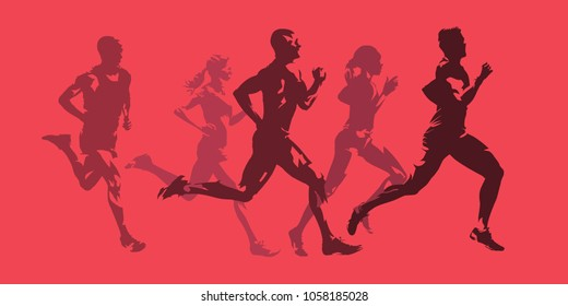 Running men and women, active people. Monochromatic isolated vector silhouettes