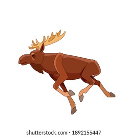 Running moose on a white isolated background. Horned Brown Elk as Herbivore Forest Animal Flat style vector Illustration.