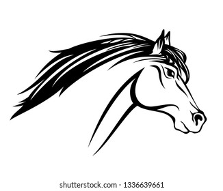 running mustang horse with flying mane profile head  black and white vector outline