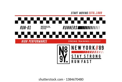 Running New York Brooklyn sports typograph design, USA style for t-shirt printing, vector image