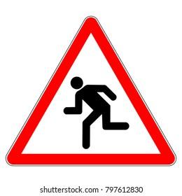 Running pedestrians warning sign, red triangle sign with running pedestrian symbol, vector illustration.