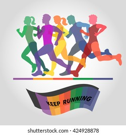 Running people. Colorful vector illustration. Group of runners. Marathon logo.