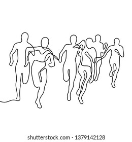 Running people continuous line vector illustration