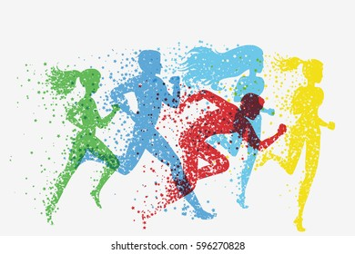 Running people. Fitness background with Silhouette of star particles. Color sport poster, print or banner. Vector illustration