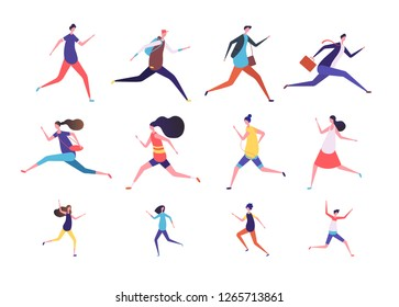 Running people. Flat man and woman, business persons and kids run. Flat vector runner jogging characters set