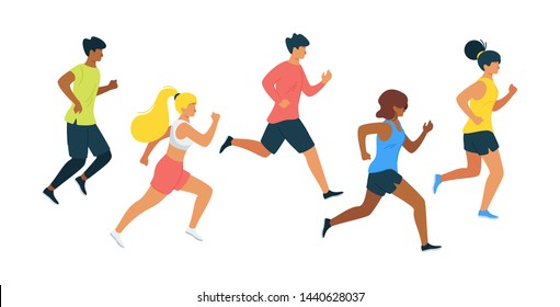Running people flat vector illustration. Runners, athletes jogging in sport outfit cartoon characters. Training sportsmen, jogging man and woman. Outdoor activity isolated design element